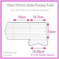 150mm Square Side Pocket Fold - Classique Striped White