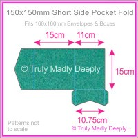 150mm Square Short Side Pocket Fold - Classique Metallics Turquoise