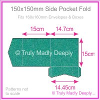 150mm Square Side Pocket Fold - Classique Metallics Turquoise