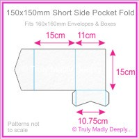 150mm Square Short Side Pocket Fold - Cottonesse Bright White 250gsm