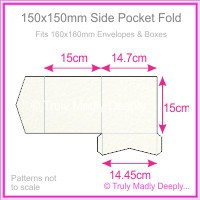 150mm Square Side Pocket Fold - Cottonesse Natural White 250gsm