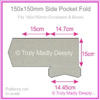 150mm Square Side Pocket Fold - Cottonesse Warm Grey 250gsm