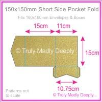 150mm Square Short Side Pocket Fold - Crystal Perle Metallic Antique Gold