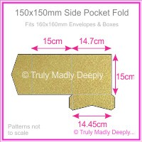 150mm Square Side Pocket Fold - Crystal Perle Metallic Antique Gold