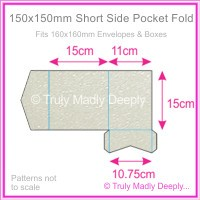 150mm Square Short Side Pocket Fold - Crystal Perle Metallic Antique Silver