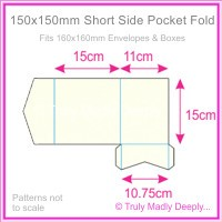 150mm Square Short Side Pocket Fold - Crystal Perle Metallic Arctic White