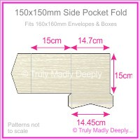 150mm Square Side Pocket Fold - Crystal Perle Metallic Arctic White Lumina