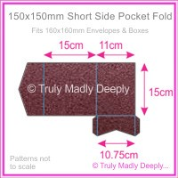 150mm Square Short Side Pocket Fold - Crystal Perle Metallic Berry Purple