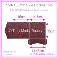 150mm Square Side Pocket Fold - Crystal Perle Metallic Berry Purple