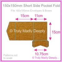 150mm Square Short Side Pocket Fold - Crystal Perle Metallic Bronze
