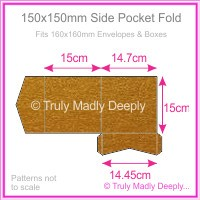 150mm Square Side Pocket Fold - Crystal Perle Metallic Bronze