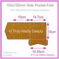 150mm Square Side Pocket Fold - Crystal Perle Metallic Bronze