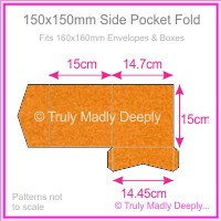 150mm Square Side Pocket Fold - Crystal Perle Metallic Copper