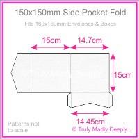 150mm Square Side Pocket Fold - Crystal Perle Metallic Diamond White