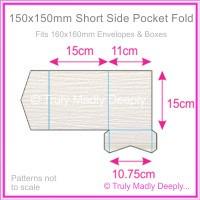 150mm Square Short Side Pocket Fold - Crystal Perle Metallic Diamond White Lumina