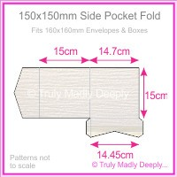 150mm Square Side Pocket Fold - Crystal Perle Metallic Diamond White Lumina