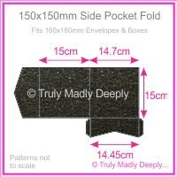 150mm Square Side Pocket Fold - Crystal Perle Metallic Glittering Black