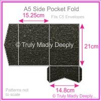 A5 Pocket Fold - Crystal Perle Metallic Glittering Black