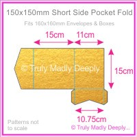 150mm Square Short Side Pocket Fold - Crystal Perle Metallic Gold