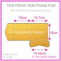 150mm Square Side Pocket Fold - Crystal Perle Metallic Gold