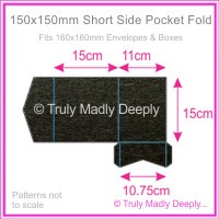 150mm Square Short Side Pocket Fold - Crystal Perle Metallic Licorice Black