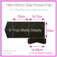 150mm Square Side Pocket Fold - Crystal Perle Metallic Licorice Black