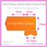 150mm Square Short Side Pocket Fold - Crystal Perle Metallic Orange