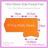 150mm Square Side Pocket Fold - Crystal Perle Metallic Orange