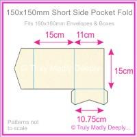 150mm Square Short Side Pocket Fold - Crystal Perle Metallic Sandstone
