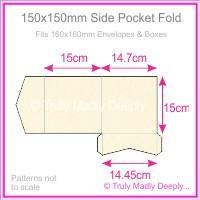 150mm Square Side Pocket Fold - Crystal Perle Metallic Sandstone