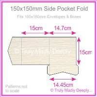 150mm Square Side Pocket Fold - Crystal Perle Metallic Sandstone Lumina