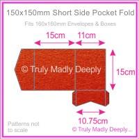 150mm Square Short Side Pocket Fold - Crystal Perle Metallic Scarlet Red