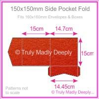 150mm Square Side Pocket Fold - Crystal Perle Metallic Scarlet Red