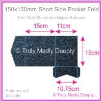 150mm Square Short Side Pocket Fold - Crystal Perle Metallic Sparkling Blue