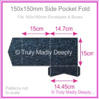 150mm Square Side Pocket Fold - Crystal Perle Metallic Sparkling Blue