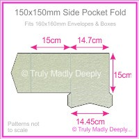 150mm Square Side Pocket Fold - Crystal Perle Metallic Steele