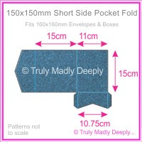 150mm Square Short Side Pocket Fold - Curious Metallics Blue Print