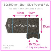 150mm Square Short Side Pocket Fold - Curious Metallics Chocolate