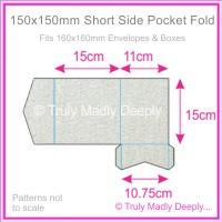 150mm Square Short Side Pocket Fold - Curious Metallics Galvanised