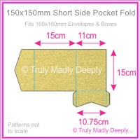 150mm Square Short Side Pocket Fold - Curious Metallics Gold Leaf