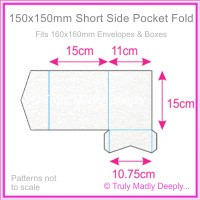 150mm Square Short Side Pocket Fold - Curious Metallics Ice Silver