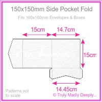 150mm Square Side Pocket Fold - Curious Metallics Ice Silver