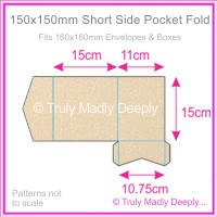 150mm Square Short Side Pocket Fold - Curious Metallics Nude