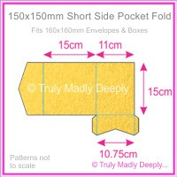 150mm Square Short Side Pocket Fold - Curious Metallics Super Gold