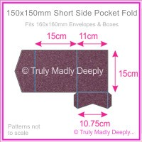 150mm Square Short Side Pocket Fold - Curious Metallics Violet