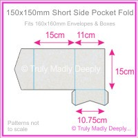 150mm Square Short Side Pocket Fold - Curious Metallics Virtual Pearl