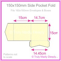 150mm Square Side Pocket Fold - Curious Metallics White Gold