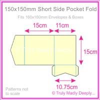 150mm Square Short Side Pocket Fold - Keaykolour Original China White