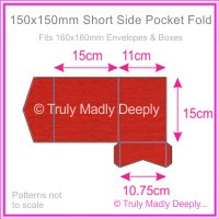 150mm Square Short Side Pocket Fold - Keaykolour Original Guardsman Red