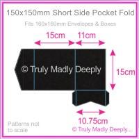 150mm Square Short Side Pocket Fold - Keaykolour Original Jet Black